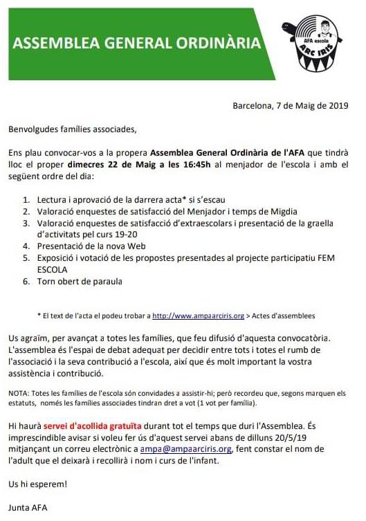 assemblea general ordinària informació